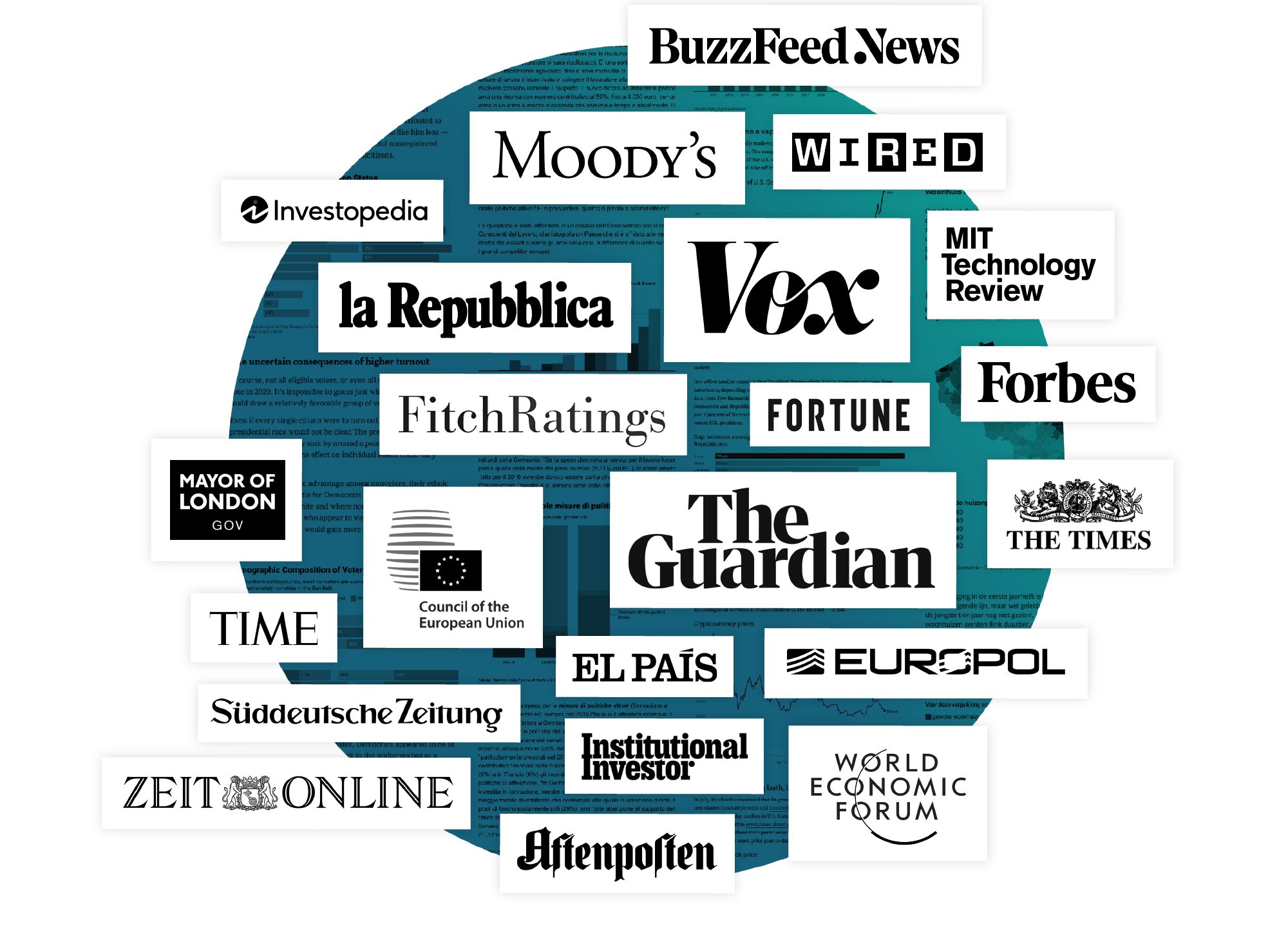 Logo wall showing companies that use Datavis, like BuzzFeed News, Vox, Guardian, Fitch Ratings, Moodys, Forbes, The Times